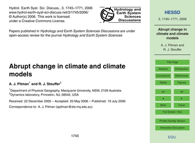 Abrupt Change in Climate and Climate Mod... by Pitman, A. J.