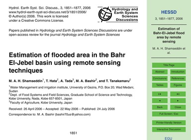 Estimation of Flooded Area in the Bahr E... by Shamseddin, M. A. H.