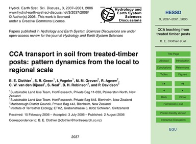 Cca Transport in Soil from Treated-timbe... by Clothier, B. E.