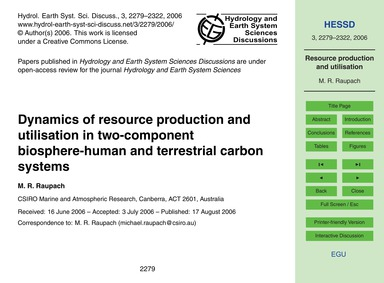 Dynamics of Resource Production and Util... by Raupach, M. R.