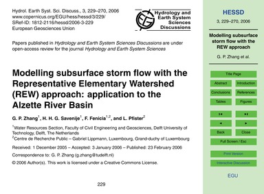 Modelling Subsurface Storm Flow with the... by Zhang, G. P.