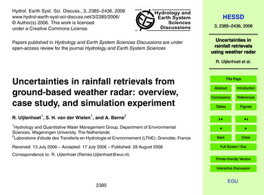 Uncertainties in Rainfall Retrievals fro... by Uijlenhoet, R.