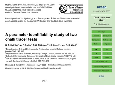 A Parameter Identifiability Study of Two... by Mathias, S. A.