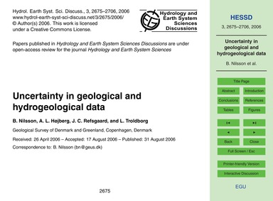 Uncertainty in Geological and Hydrogeolo... by Nilsson, B.