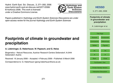 Footprints of Climate in Groundwater and... by Liebminger, A.