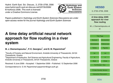 A Time Delay Artificial Neural Network A... by Diamantopoulou, M. J.