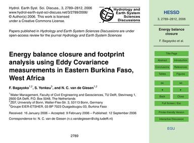 Energy Balance Closure and Footprint Ana... by Bagayoko, F.