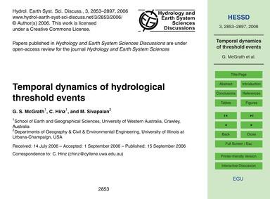 Temporal Dynamics of Hydrological Thresh... by McGrath, G. S.