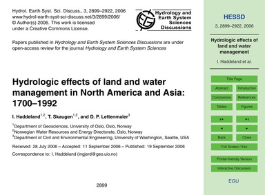 Hydrologic Effects of Land and Water Man... by Haddeland, I.