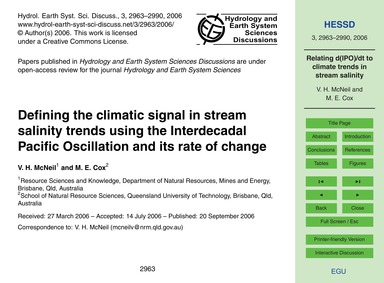 Defining the Climatic Signal in Stream S... by McNeil, V. H.