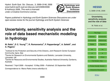 Uncertainty, Sensitivity Analysis and th... by Ratto, M.