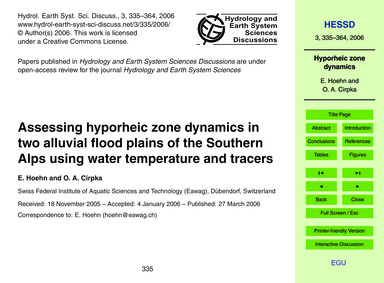 Assessing Hyporheic Zone Dynamics in Two... by Hoehn, E.