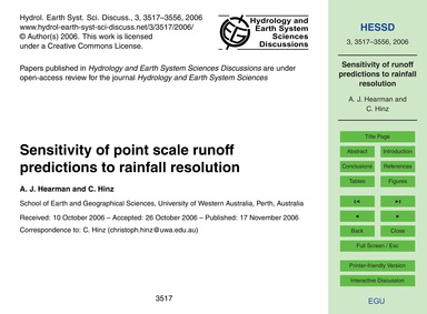 Sensitivity of Point Scale Runoff Predic... by Hearman, A. J.
