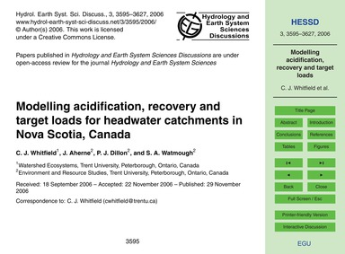 Modelling Acidification, Recovery and Ta... by Whitfield, C. J.