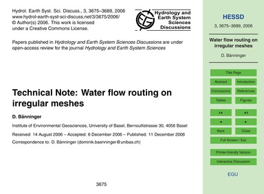 Technical Note: Water Flow Routing on Ir... by Bänninger, D.