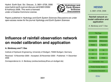 Influence of Rainfall Observation Networ... by Bárdossy, A.
