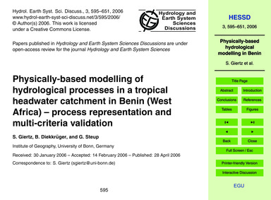 Physically-based Modelling of Hydrologic... by Giertz, S.