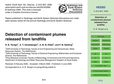 Detection of Contaminant Plumes Released... by Yenigül, N. B.