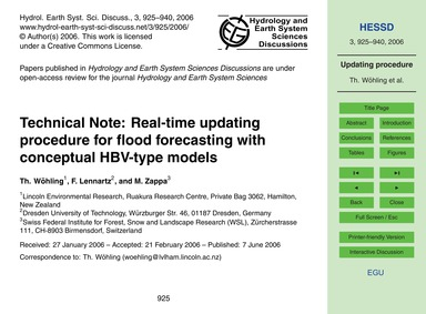 Technical Note: Real-time Updating Proce... by Wöhling, Th.