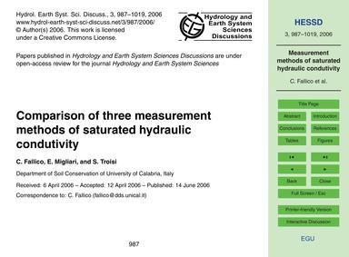 Comparison of Three Measurement Methods ... by Fallico, C.