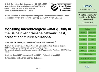 Modelling Microbiological Water Quality ... by Servais, P.