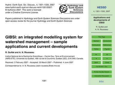 Gibsi: an Integrated Modelling System fo... by Quilbé, R.