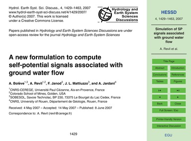 A New Formulation to Compute Self-potent... by Bolève, A.