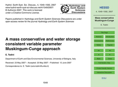 A Mass Conservative and Water Storage Co... by Todini, E.