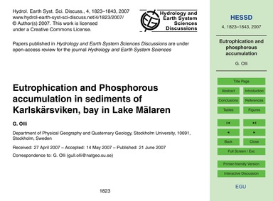 Eutrophication and Phosphorous Accumulat... by Olli, G.