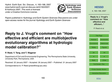 Reply to J. Vrugt's Comment on How Effec... by Reed, P.