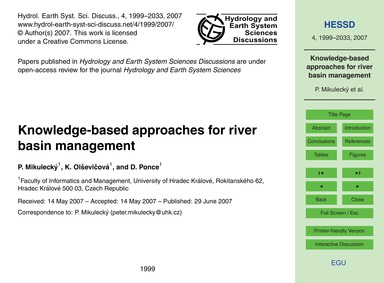 Knowledge-based Approaches for River Bas... by Mikulecký, P.