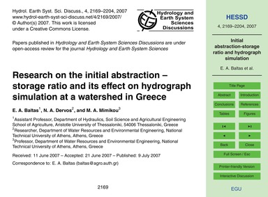 Research on the Initial Abstraction – St... by Baltas, E. A.