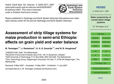 Assessment of Strip Tillage Systems for ... by Temesgen, M.