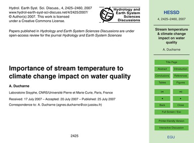 Importance of Stream Temperature to Clim... by Ducharne, A.