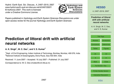 Prediction of Littoral Drift with Artifi... by Singh, A. K.