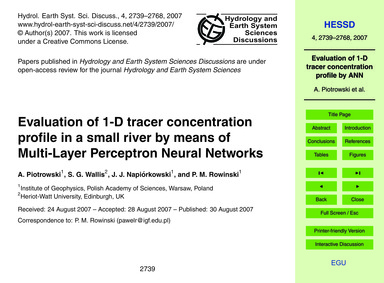 Evaluation of 1-d Tracer Concentration P... by Piotrowski, A.