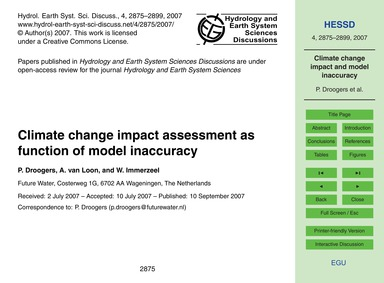 Climate Change Impact Assessment as Func... by Droogers, P.