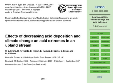Effects of Decreasing Acid Deposition an... by Evans, C. D.