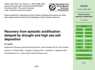 Recovery from Episodic Acidification Del... by Laudon, H.