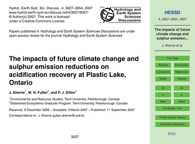 The Impacts of Future Climate Change and... by Aherne, J.