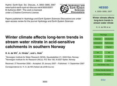 Winter Climate Affects Long-term Trends ... by De Wit, H. A.