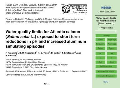 Water Quality Limits for Atlantic Salmon... by Kroglund, F.