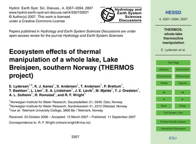 Ecosystem Effects of Thermal Manipulatio... by Lydersen, E.