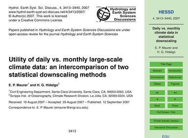 Utility of Daily Vs. Monthly Large-scale... by Maurer, E. P.