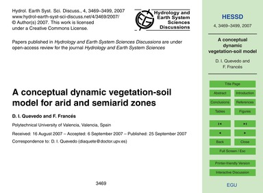 A Conceptual Dynamic Vegetation-soil Mod... by Quevedo, D. I.