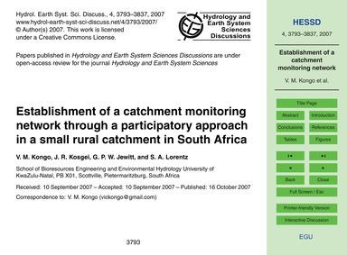Establishment of a Catchment Monitoring ... by Kongo, V. M.
