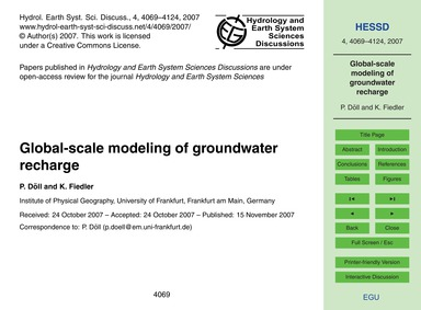 Global-scale Modeling of Groundwater Rec... by Döll, P.