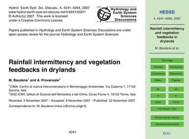 Rainfall Intermittency and Vegetation Fe... by Baudena, M.