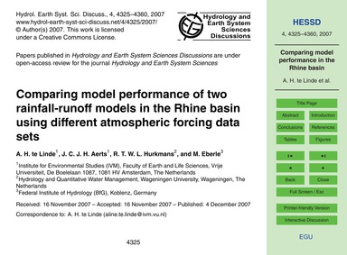 Comparing Model Performance of Two Rainf... by Te Linde, A. H.