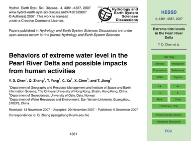 Behaviors of Extreme Water Level in the ... by Chen, Y. D.